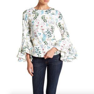 Garcia Floral  Layered Sleeve Top sz Small  #E